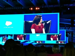 Image of Sheryl Sandberg giving her keynote at Dreamforce 2013