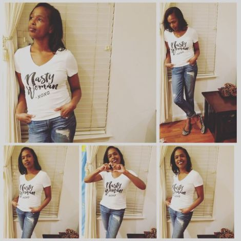 "Photo collage of woman in different poses wearing ""nasty woman"" t-shirt"