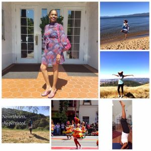 Collage of woman in yoga poses, hiking, and dancing at a Carnival.
