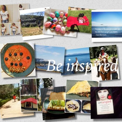 Collage of images of food, camping, beach, book, woman riding on horse and more