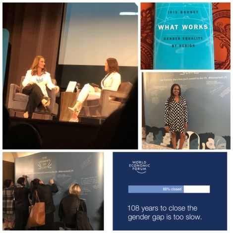 Collage with photos of Melinda Gates and Mandy Moore at her Moment of Lift book tour, gender equality statistics, Gender Equality book What Works Gender Equality by Design, and me at the Melinda Gates Book Tour.