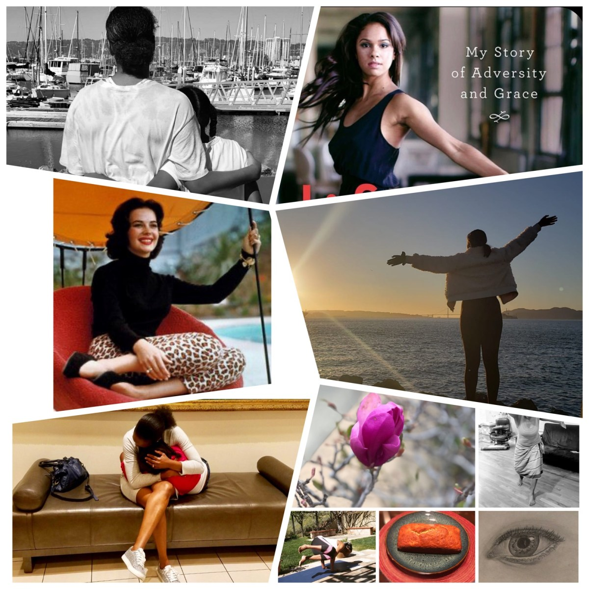 Collage of mother cradling daughter, fashion model, Misty Copeland, two children with arms around each other, teen looking at the Bay Bridge in San Francisco, and beautiful flowers