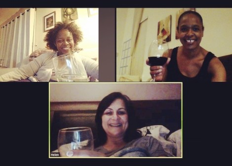 Group of 3 women on Zoom having a movie watch party