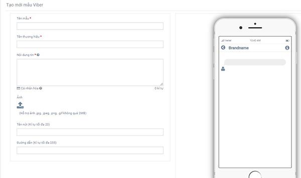 Tạo mẫu tin nhắn Viber trên nền tảng GAPONE