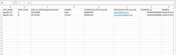 Mẫu dữ liệu cần cho khách hàng