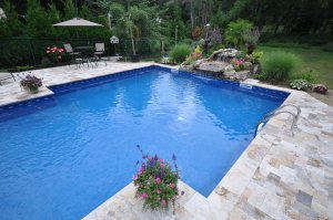 Fiorito Travertine for swimming pool Coping- natural waterfall-