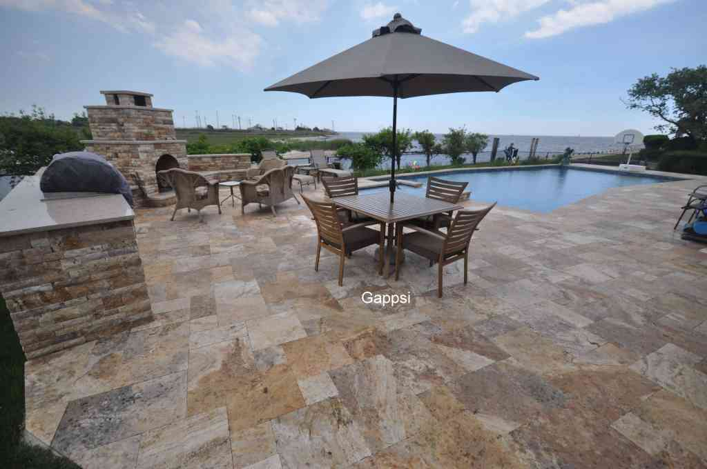 scabbo travertine poll patio and copings islip ny
