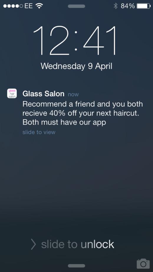 Glass Salon push notification