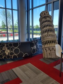 leaning tower and seating
