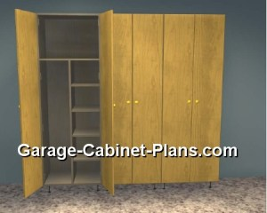 6 ft plywood garage cabinet plans with broom closet.