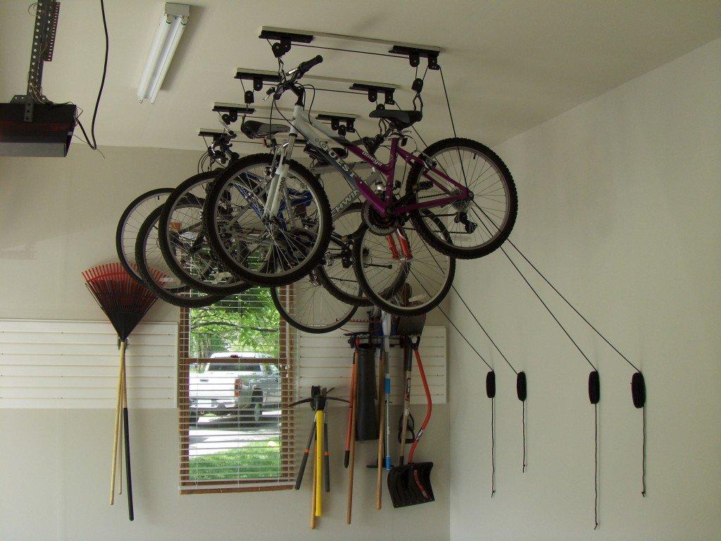 Best Kitchen Gallery: Retractable Bicycle Ceiling Storage of Home Bike Shop Design  on rachelxblog.com