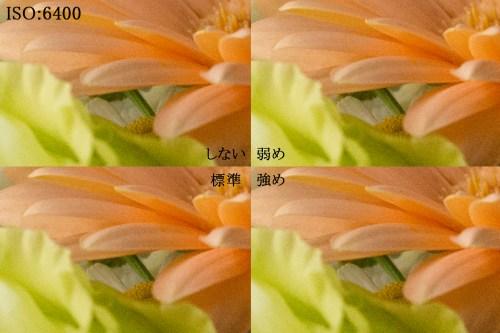 D800の機能である「高感度ノイズ低減」を設定して各画像のノイズチェック編