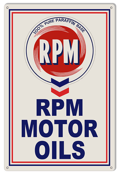 Large Rpm Motor Oils Sign 16 24 Reproduction Vintage Signs