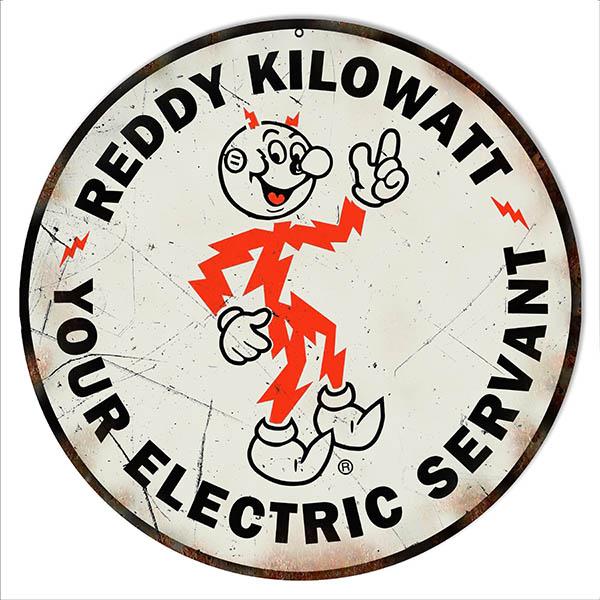 Reddy Kilowatt Electric Servant Nostalgic Sign 14 Round