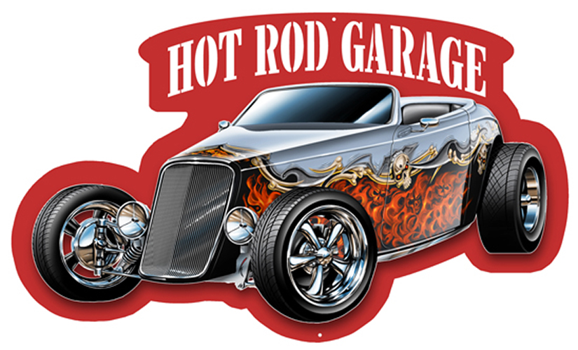 Hot Rod Cut Out With 3D Effect Wall Art Metal Sign 12.5×21 ...