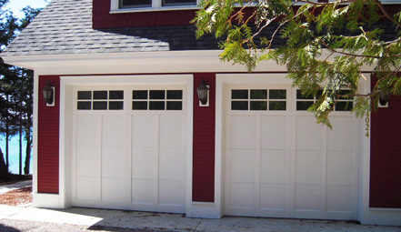 Metal Carriage Doors - Double White - Cropped