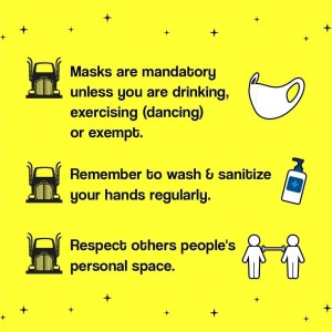 The Garage COVID-19 Guidance: Masks are mandatory unless you are drinking, dancing or exempt. If exempt please consider wearing a Sunflower Lanyard; Remember to wash and sanitise your hands regularly; Respect other people's personal space.