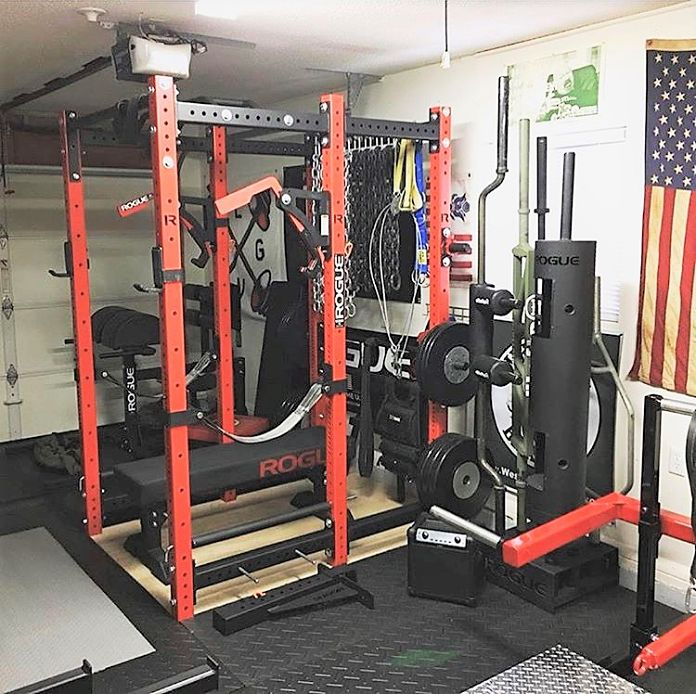 Force usa myrack garage gym power rack with lat low pulley for