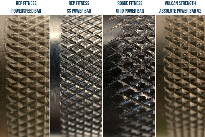 Rep Fitness Powerspeed bar Knurl Comparison Garage Gym Lab