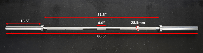 Fringe Sport Lone Star Power Bar - Measurements - Garage Gym Lab