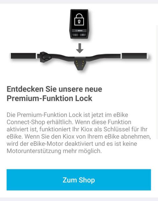 Screenshot Bosch E-Bike App, In-App Kauf der Kiox Lock Funktion
