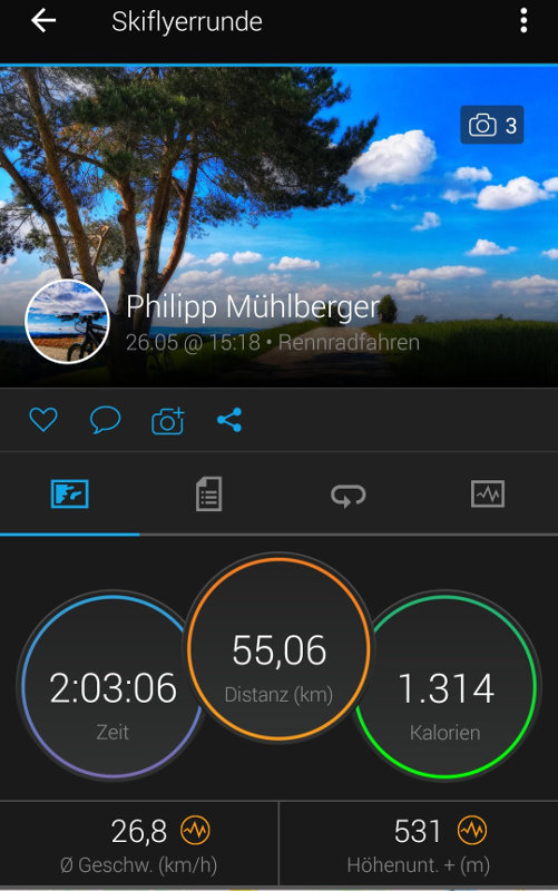 Fahrtstatistik Skiflyerrunde Carmin Connect App