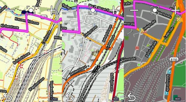 Vergleich Kartenbild: Openfietsmap, Velomap, Garmin Cycle Map