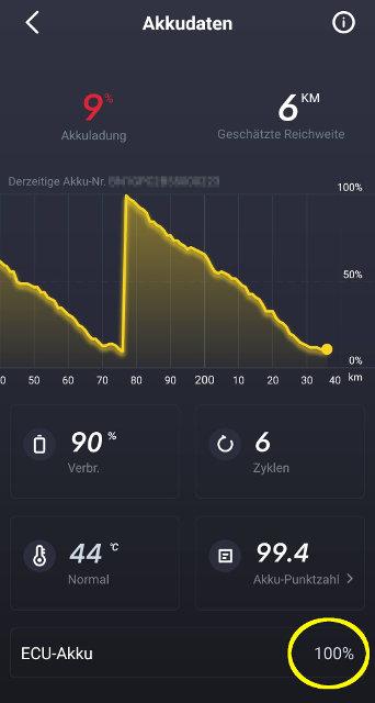 Screenshot NIU App: ECU Akku Ladestand auf 100%