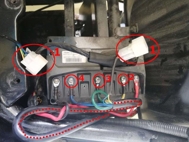 Niu NQi Motorcontroller: Motorzuleitungen lösen
