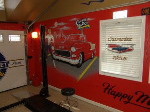A very special garage for a very special '55 Chevy.