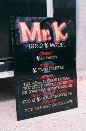 Show sign for a K model Harley.
