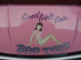 Airbrushed and silver leaf lettering. Girls need cool toys to!