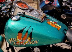 A very cool project from start to finish. We matched the base color to match a Tonka truck the owner had brought in. The hand mixed base had a lot of color flake added to make it pop. A lot of detail from the airbrushing to the gold leaf lettering to the custom painted speedo base helped make this bike a show winner