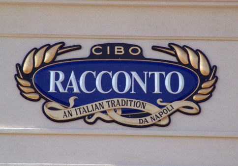 The finished sign. Hand lettered, gold leafed. the Racconto letters were cut out and glued to the sign to give it depth.