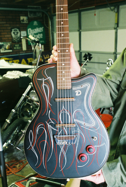 Satin black base with hot rod style pinstriping. for our good friend Jonnie K.