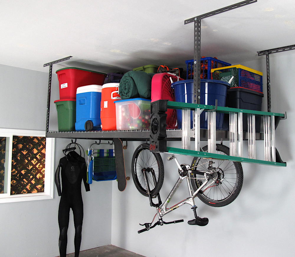 how to hang shelves from the garage ceiling
