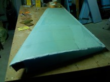 Inboard side of the left winglet glassed and peel plied.