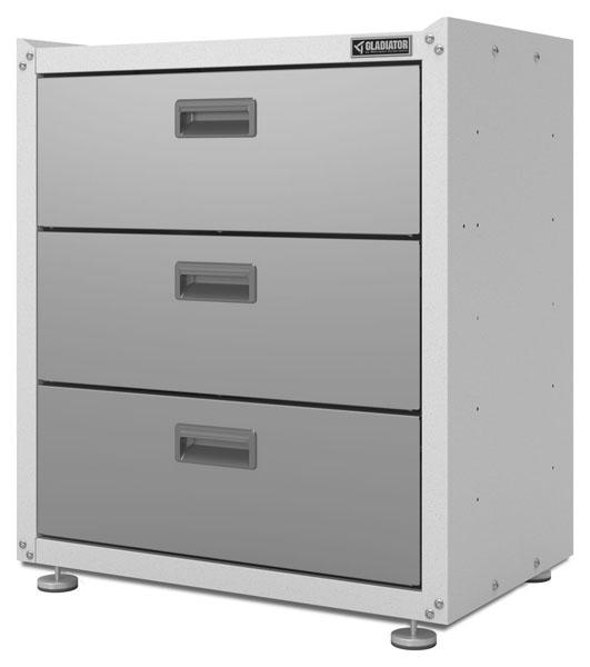 Gladiator Ready To Assemble 3-Drawer Base Cabinet in Everest White ...