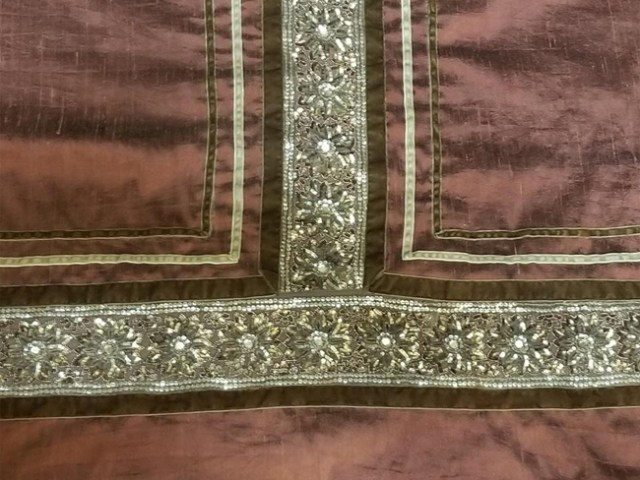 Mauve Italian Gamurra Skirt Trim