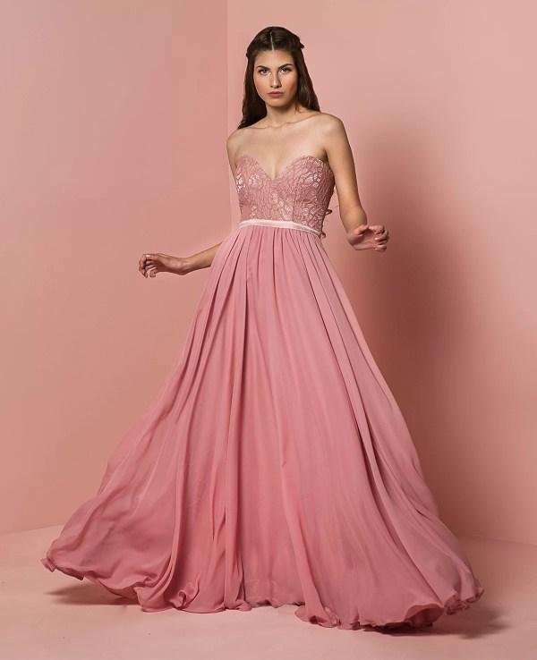 Dama de honor vestido color rosa palo