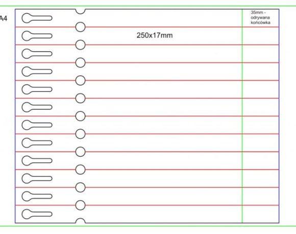 Etykieta pętelkowa Laser – 250x17x10-15, zrywka, biała