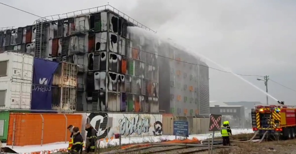 Awaria serwerowni OVH. Pożar. Źródło Fot.@abonin_DNA/twitter