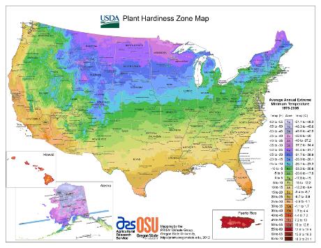 2012 USDA Hardiness Zone Map Thumbnail