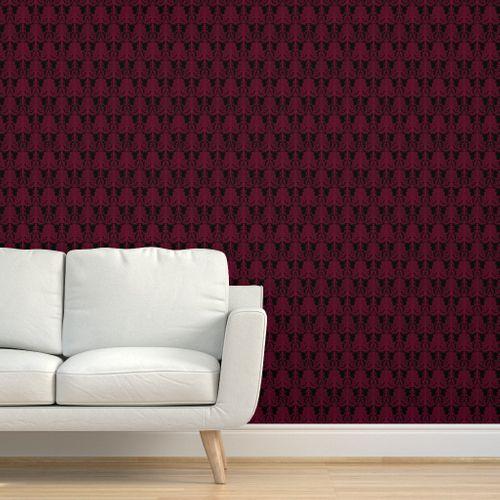 papier peint baroque noir bordeaux bourgogne damasse gothique lolita rouge du vin