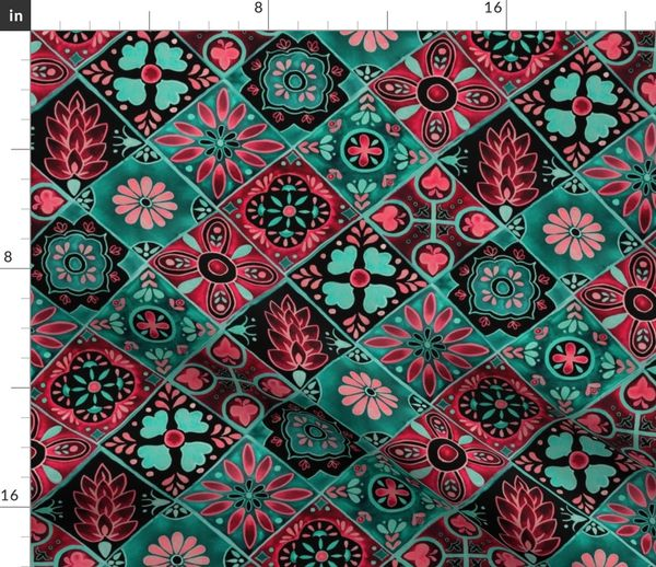 fabric watercolor talavera tiles pink and green spanish mexican ceramic diamond floral tile neon green mint emerald rose pink black fabric