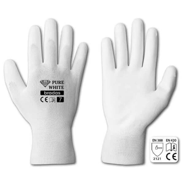 Pirštinės PURE WHITE 9 dydis —  pirstines baltos su lateksu