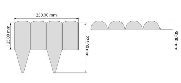 Dekoratyvinė plastikinė tvorelė 2,5 metro Juodos sp. — vejos tvoreles ismatavimai