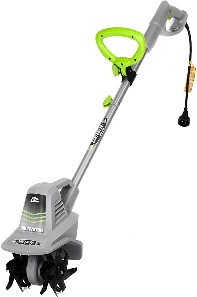 A silver and neon green electric tiller with a small body, power cable, and black tines.