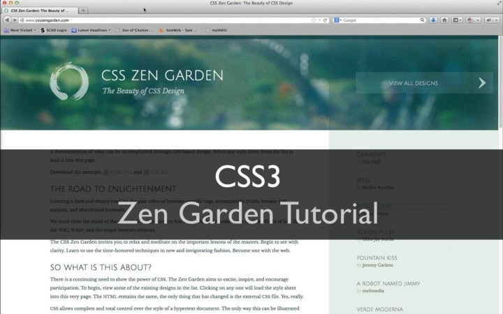 Css Zen Garden Tutorial Video | Web Design Resources < < < | Css Zen throughout Zen Garden Web Design
