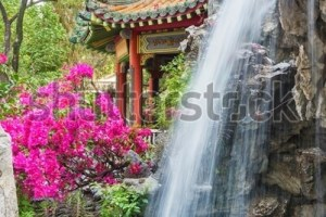 Pavilion Waterfall Oriental Garden Hong Kong Stock Photo with regard to Oriental Garden Hong Kong